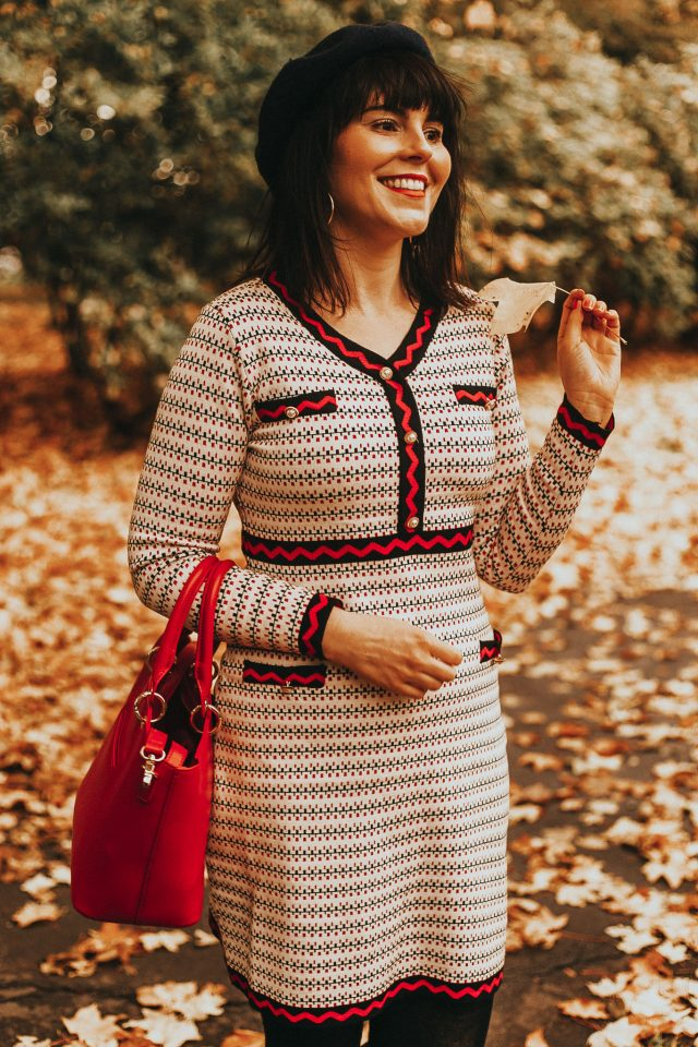 Chic Wish, Faux Pearl Trim Dotted Line Pattern Knit Midi Dress, knitted dress, vintage dress, vintage autumn dress, vintage style