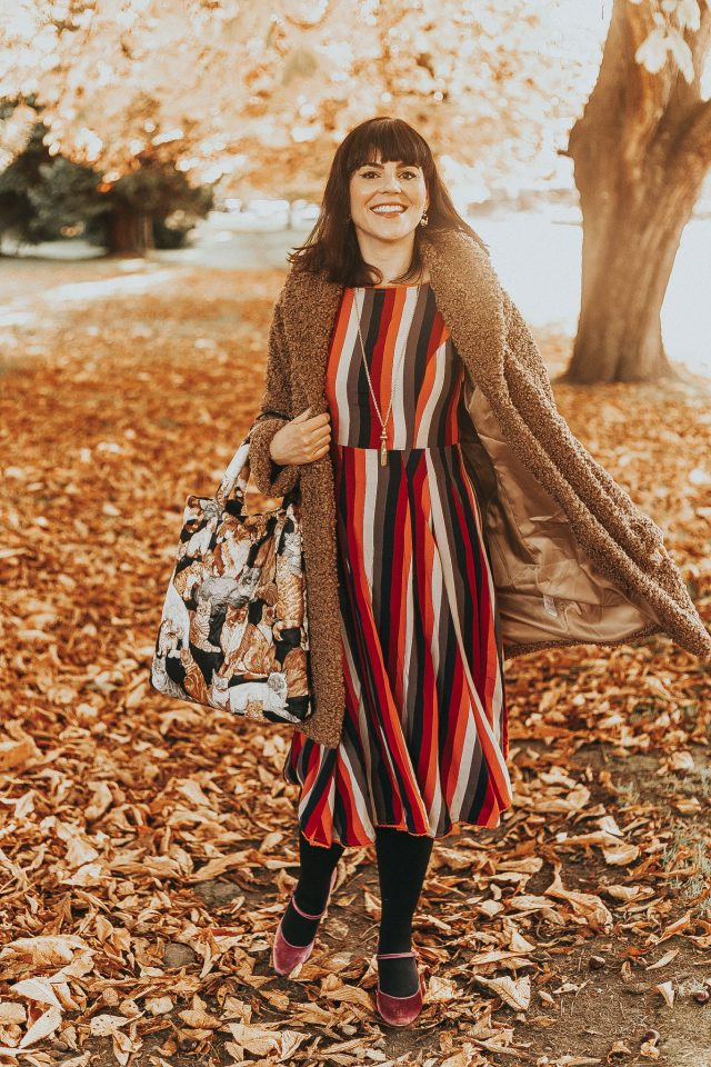 Bright & Beautiful BRIGHT & BEAUTIFUL ASTRID AUTUMN STRIPE DRESS, Collectif, vintage fall fashion, vintage autumn, Feeling of Warmth Faux Fur Longline Coat in Brown, Chic Wish, vintage Fashion, vintage style, quilted bag