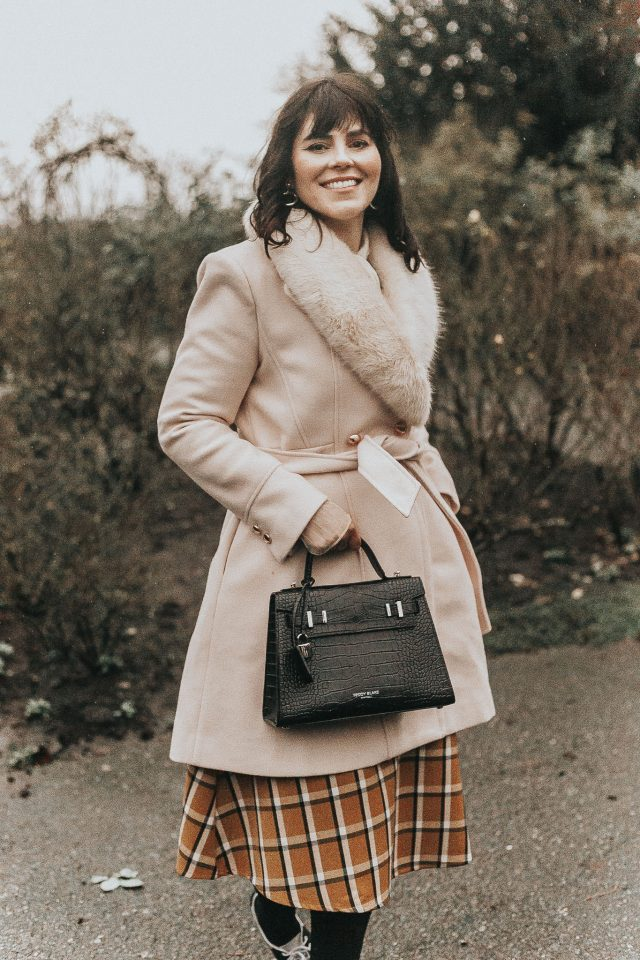 Faux Fur Collar Belted Flare Coat in Nude Pink, Chic Wish, Mesh Bow Neck Long Sleeves Ribbed Knit Top, vintage winter fashion, Grid A-Line Midi Skirt in Mustard