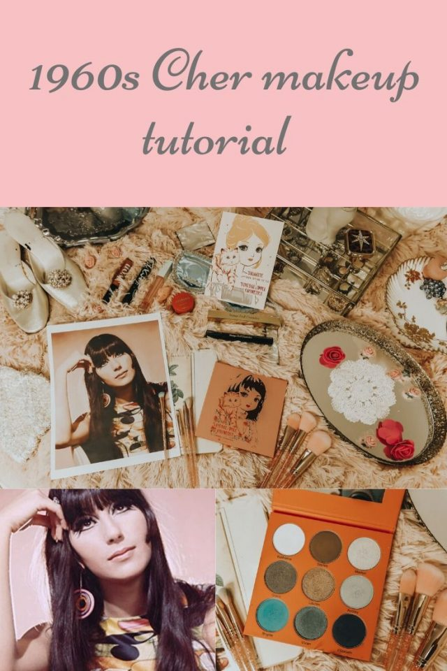 Cher, Cher makeup tutorial, 1960s Cher makeup tutorial, vintage makeup tutorial, vintage doll cosmetics, stamp liquid eyeliner