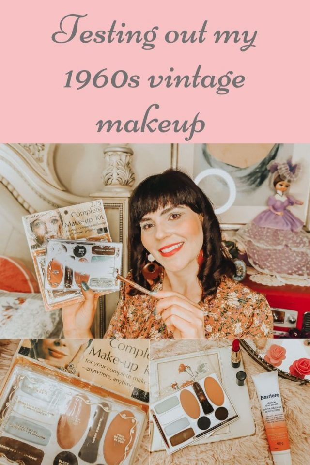 testing out my vintage makeup, vintage makeup collection, vintage makeup, vintage 1960s eyeshadow, swatching vintage makeup, 1960s makeup, vintage makeup,