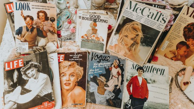 vintage magazine collection, vintage magazines, vintage vogue magazine, vintage seventeen magazine, vintage life magazine, vintage McCall's magazine, vintage Good Housekeeping magazine, browsing through vintage magazines