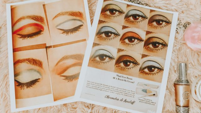 1960s eye makeup, 1960s makeup, history of 1960s makeup, 1960s eyeshadow, 1960s Beauty ad, Vintage Doll cosmetics,